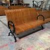 献县户外休闲椅广场铸铝防腐木靠背座椅 厂家定制批发